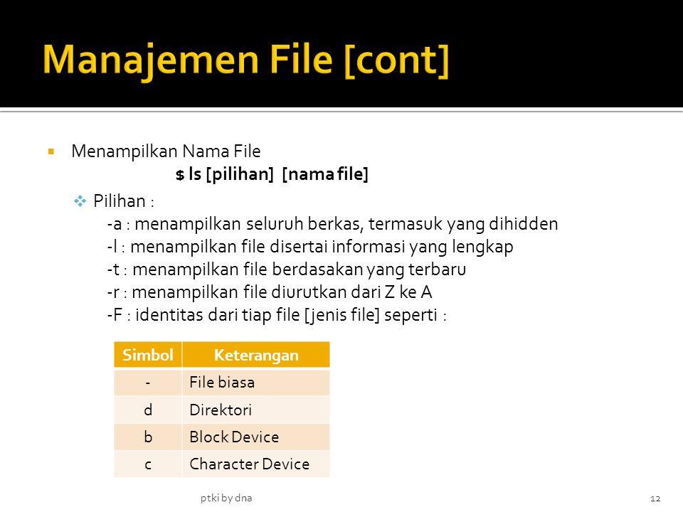 Manajemen File [cont] Menampilkan Nama File $ ls [pilihan] [nama file]